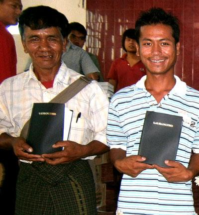 Pastors with their new Bibles